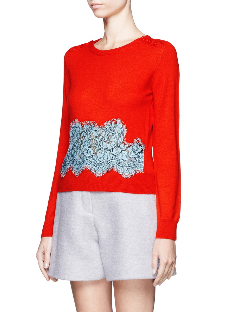 Carven Wool Lace-insert Sweater in Red | Lyst