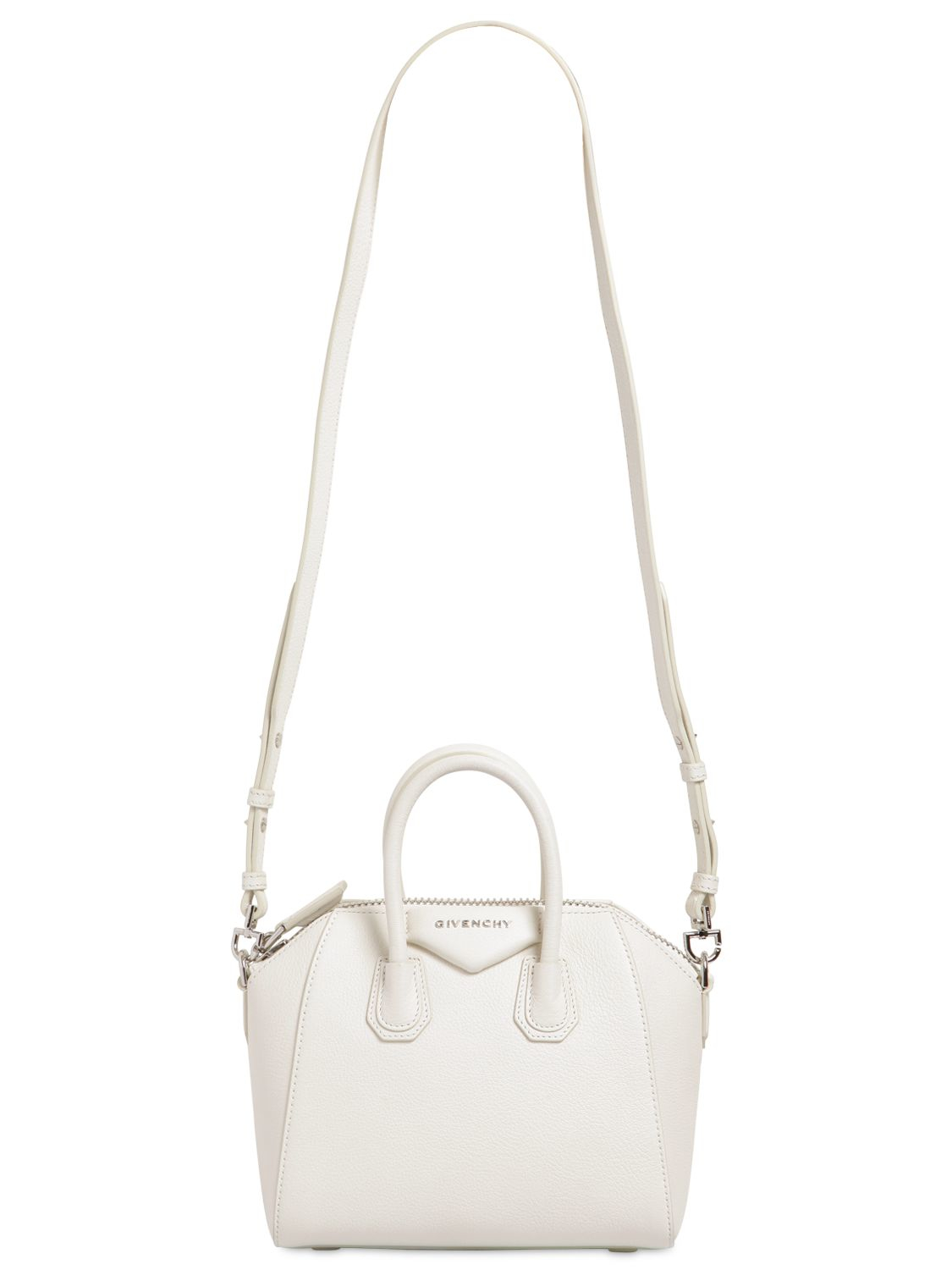 Lyst - Givenchy Mini Antigona Grained Leather Top Handle in White eed38fa66d9bd