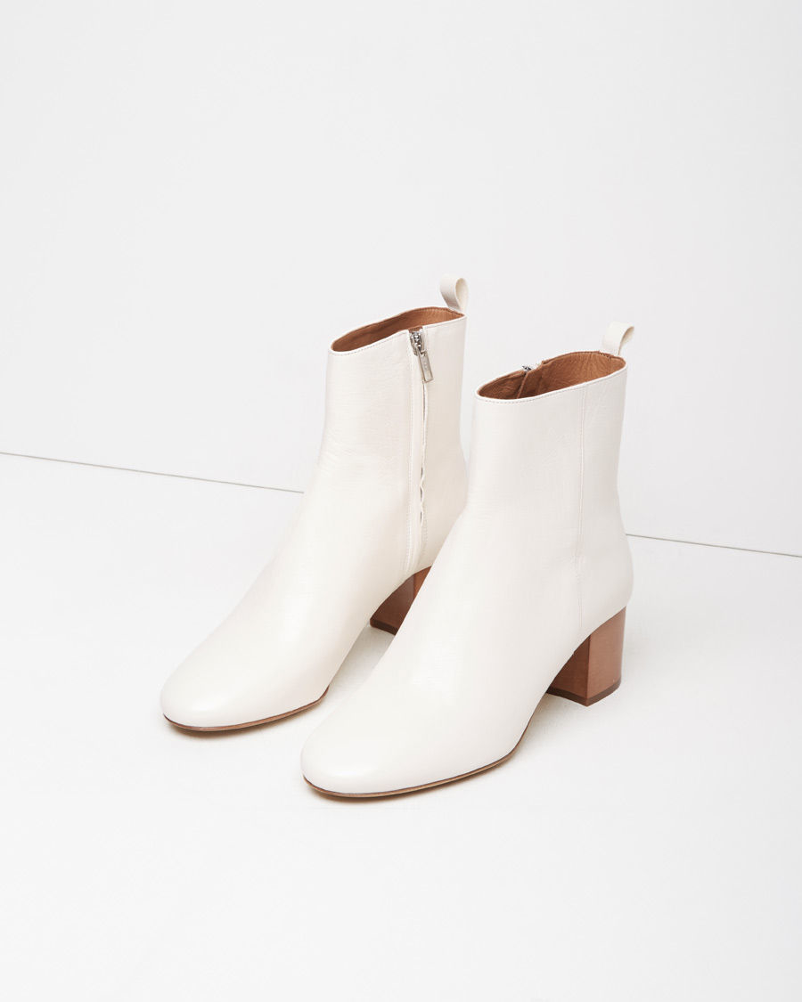 Étoile isabel marant Drew Leather Ankle Boots in White ...