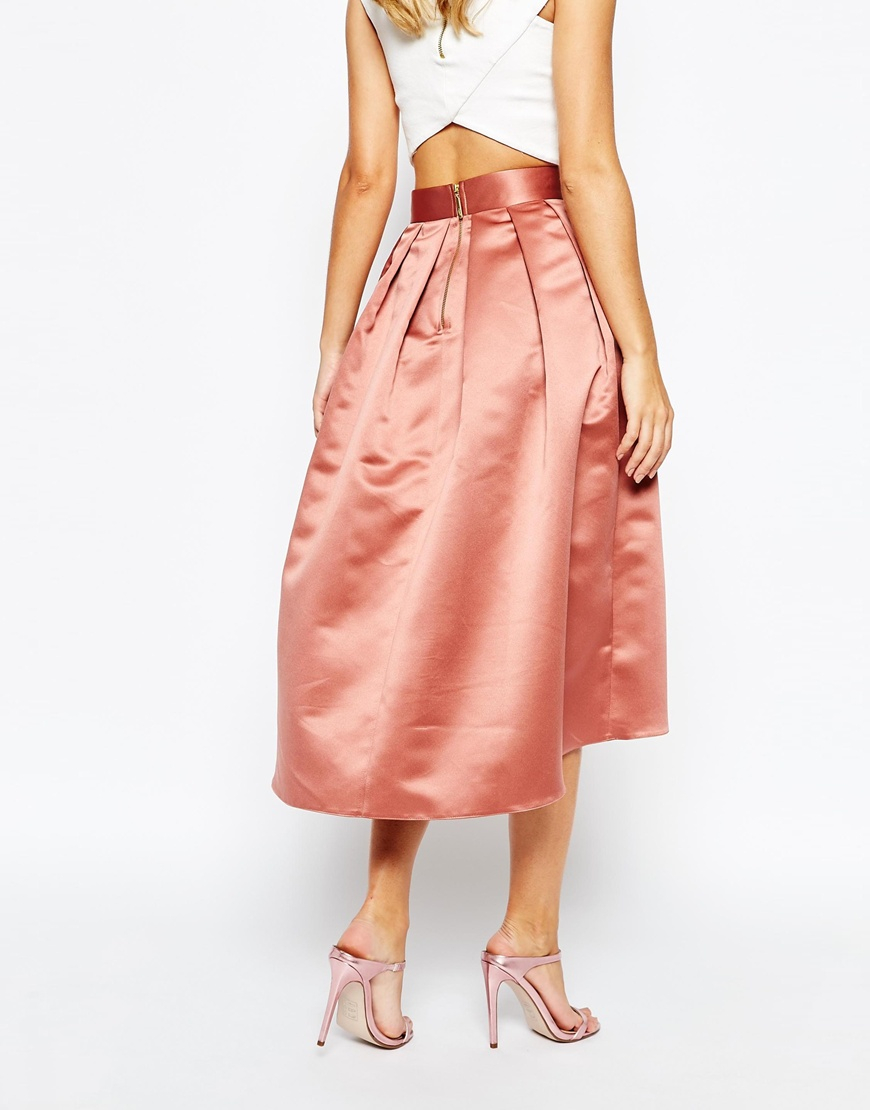 closet box pleat high low skirt in pink lyst