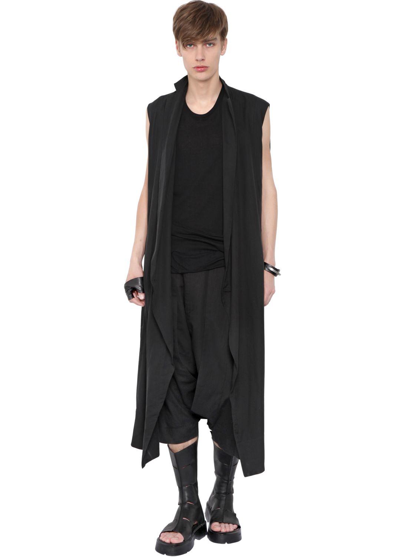 Julius Sleeveless Cotton Viscose Long Coat in Black for Men | Lyst