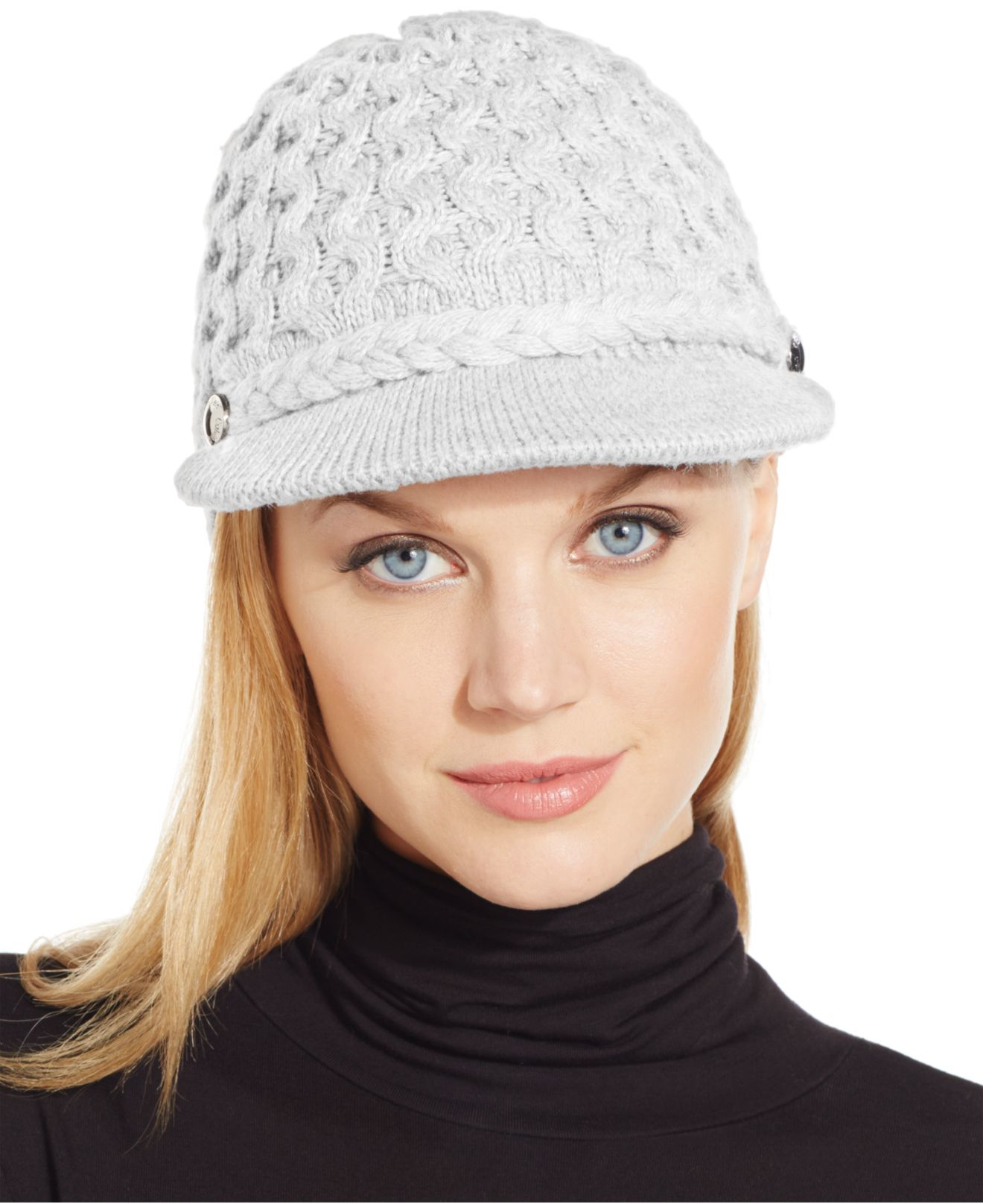 calvin klein honeycomb cable newsboy hat in gray creme