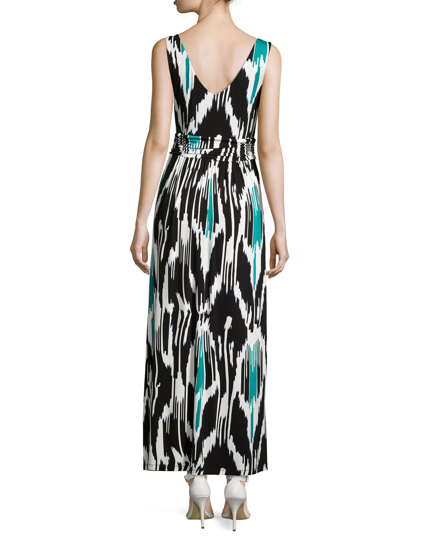 Lyst - Neiman Marcus Ikat Sleeveless V-neck Maxi Dress
