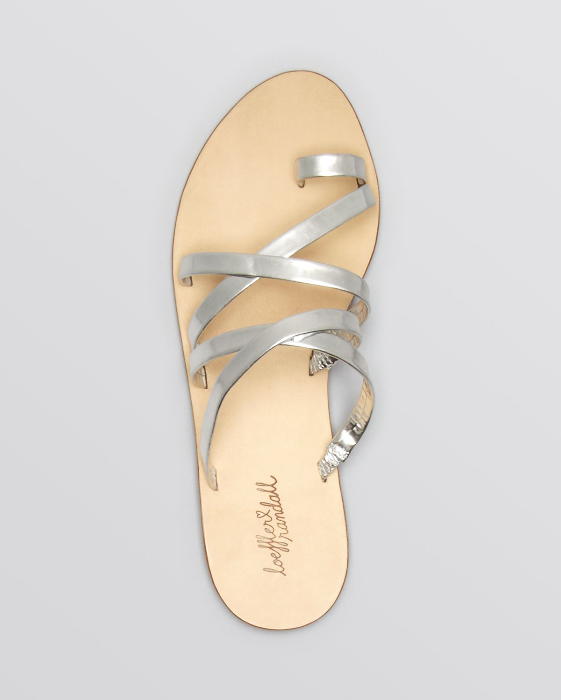 7e57d848a Lyst - Loeffler Randall Flat Strappy Slide Toe Ring Sandals - Sarie ...