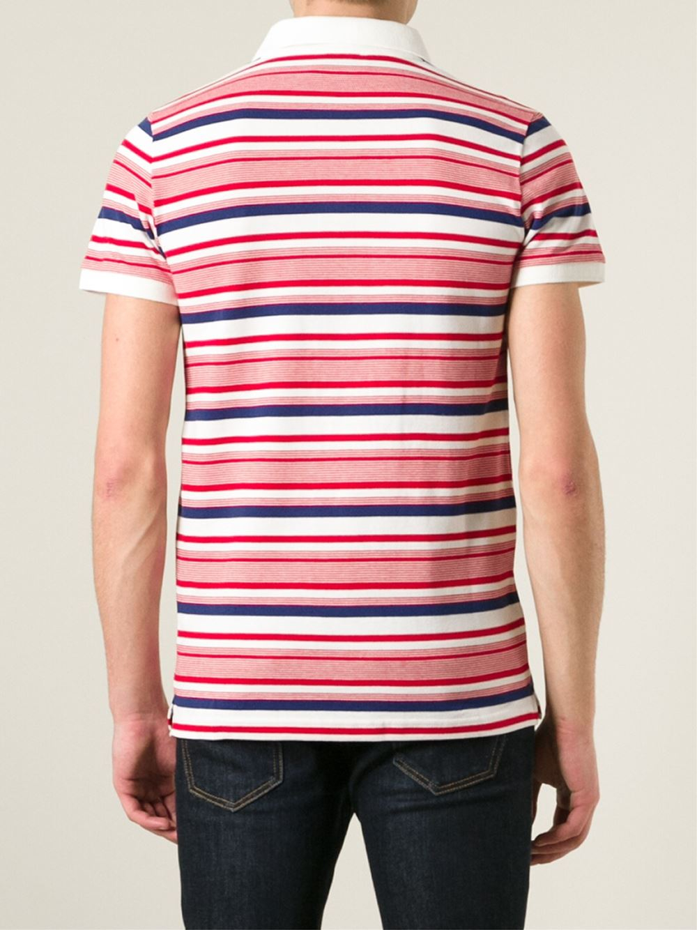 Maison Kitsuné Striped Polo Shirt in White (Pink) for Men