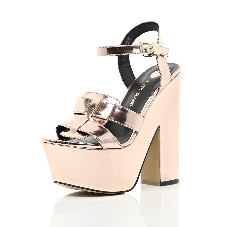 03fad73a775 River Island Rose Gold Metallic Platform Sandals in Metallic - Lyst