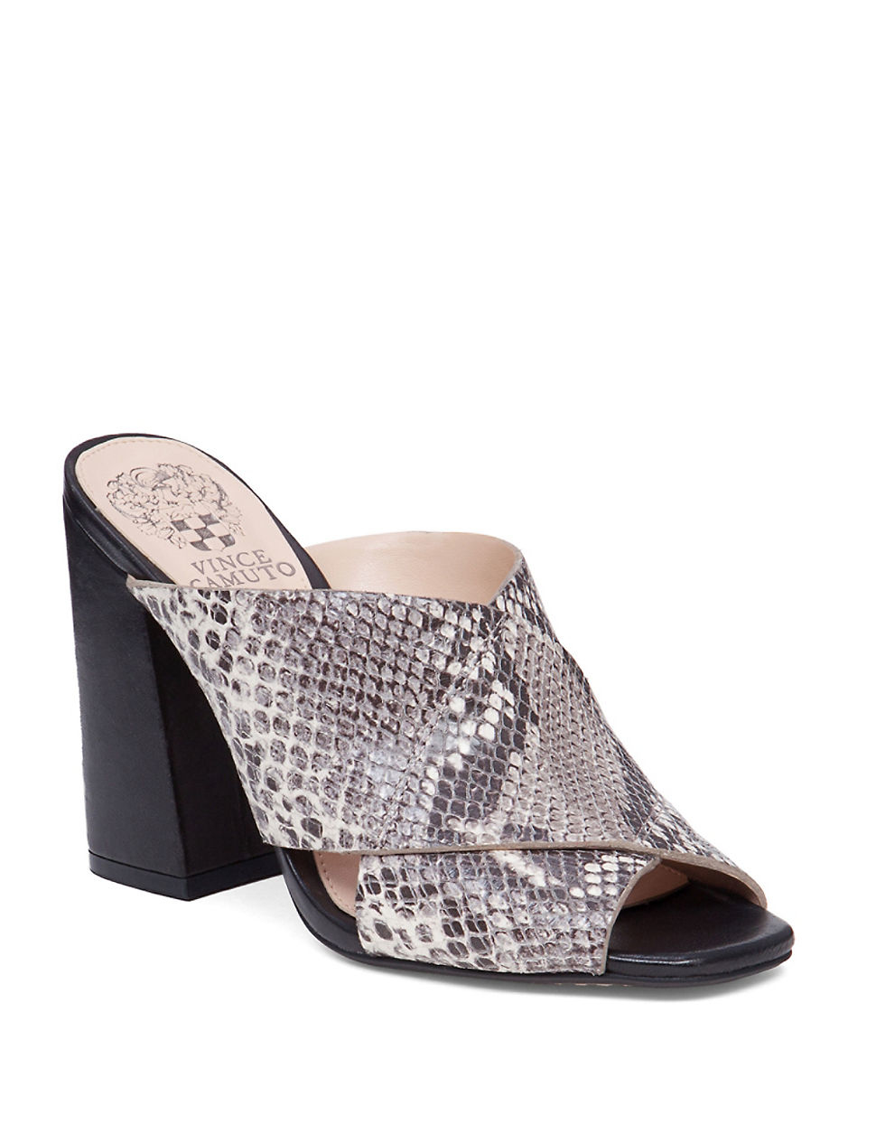Vince Camuto Jevan Snake Embossed Leather Mules In Black