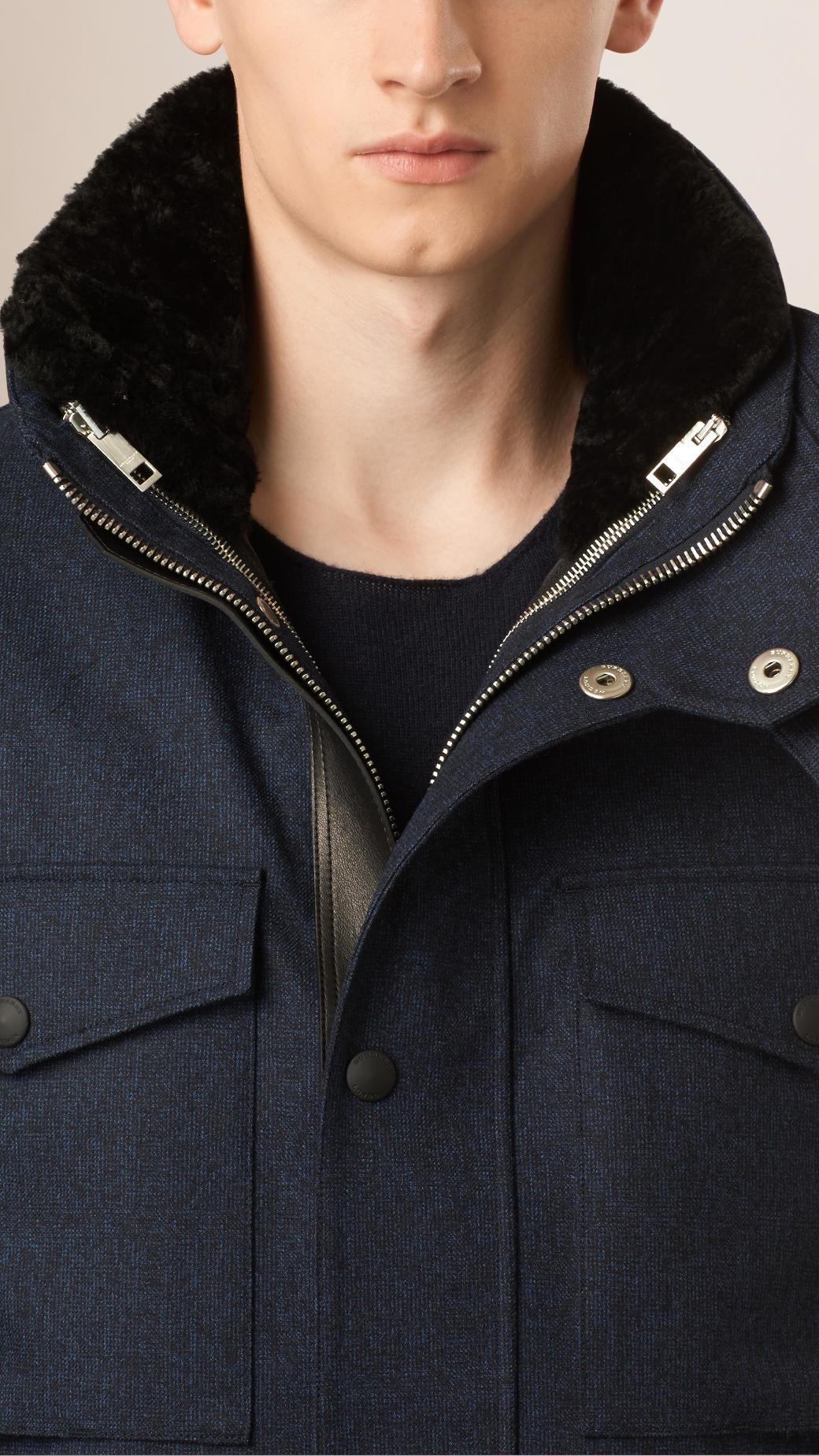 Burberry Cropped Wool Field Jacket in Blue for Men