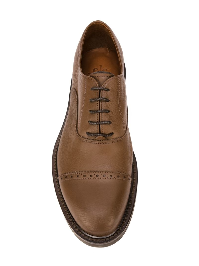 Eleventy Leather Oxford Shoes in Brown for Men