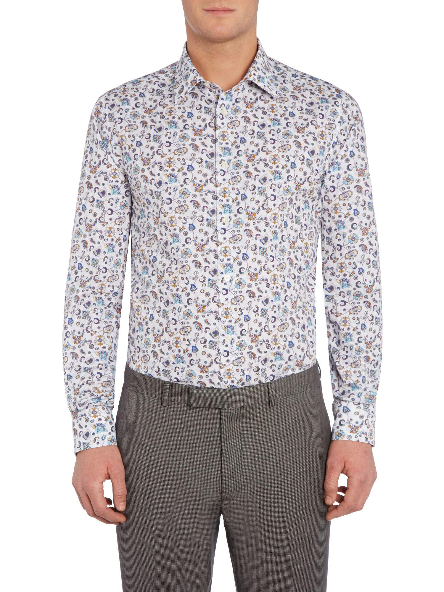 New lingwood malton floral print shirt in white for men for Mens white floral shirt