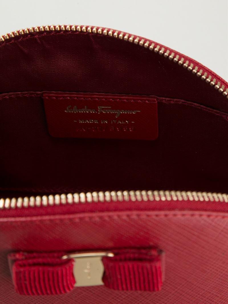 2303e9d318 Lyst - Ferragamo  Vara  Bow Makeup Case in Red