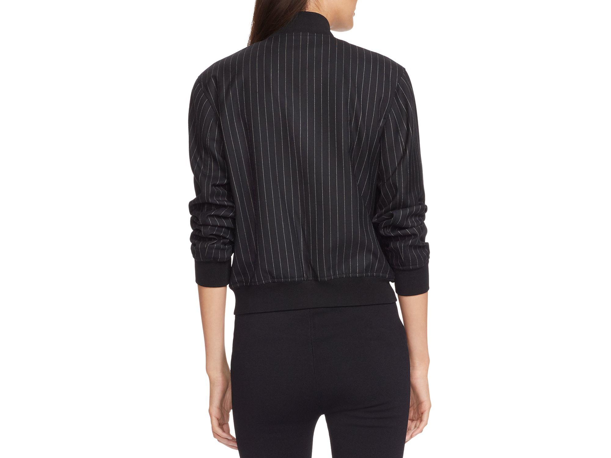 ralph lauren lauren pinstripe bomber jacket in black lyst. Black Bedroom Furniture Sets. Home Design Ideas
