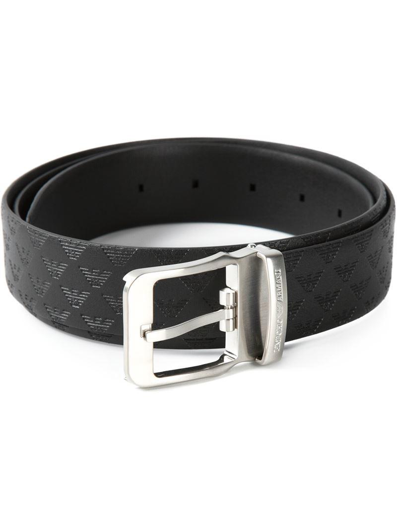 Emporio Armani Embossed Logo Belt in Black for Men - Lyst