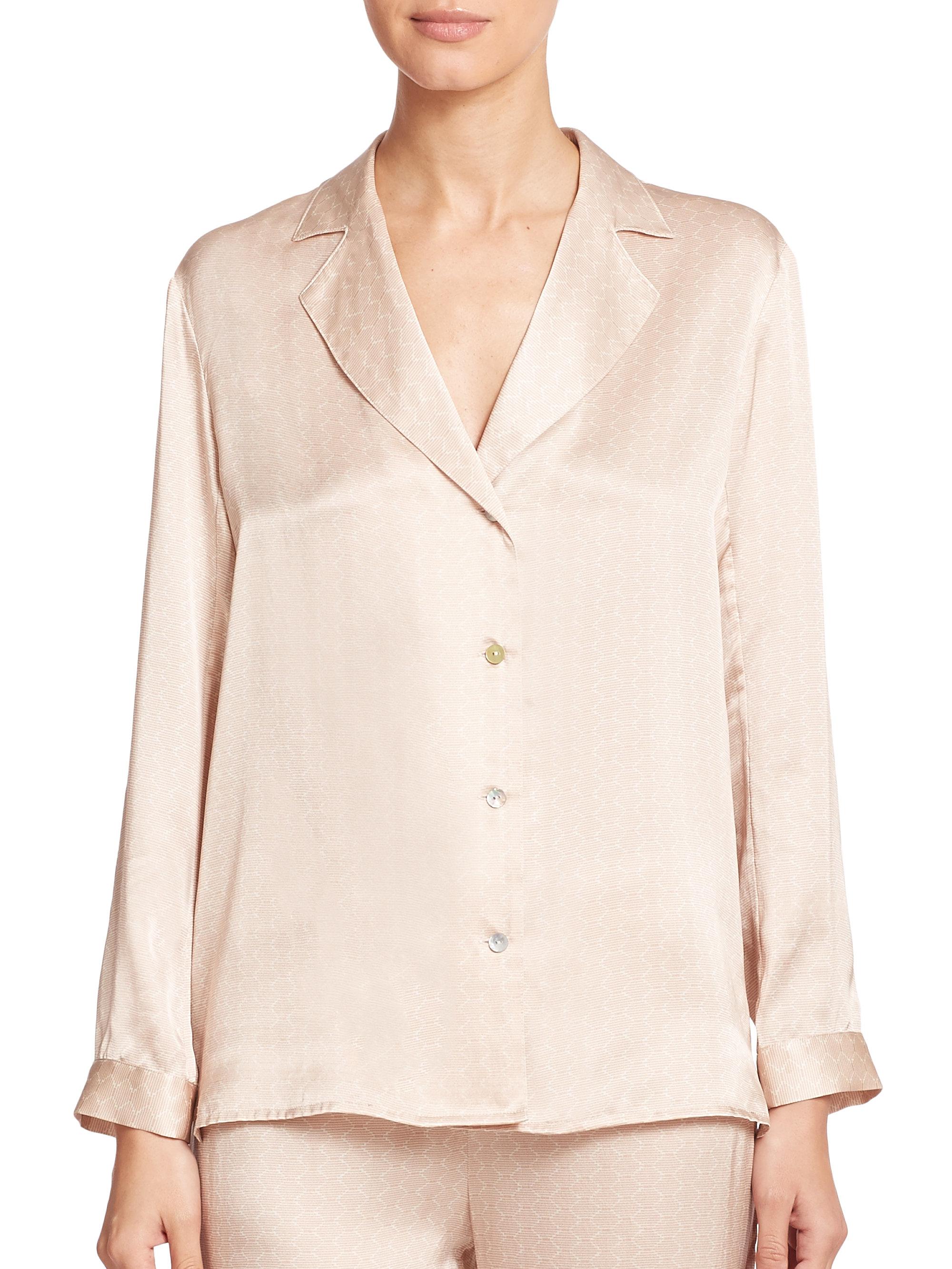 Lyst - Asceno Tile-print Silk Pajama Shirt in Natural 307d12836