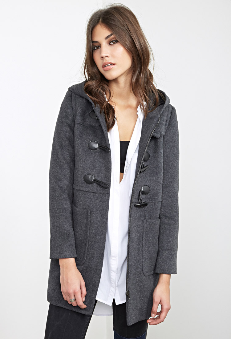 Forever 21 Classic Hooded Duffle Coat in Gray | Lyst
