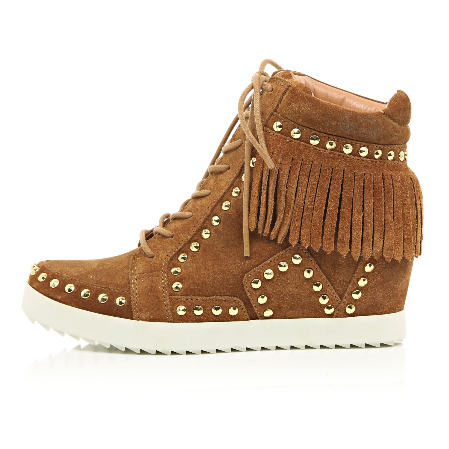 71cd28dee392 Lyst - River Island Tan Suede Fringed High Top Wedge Trainers in Brown