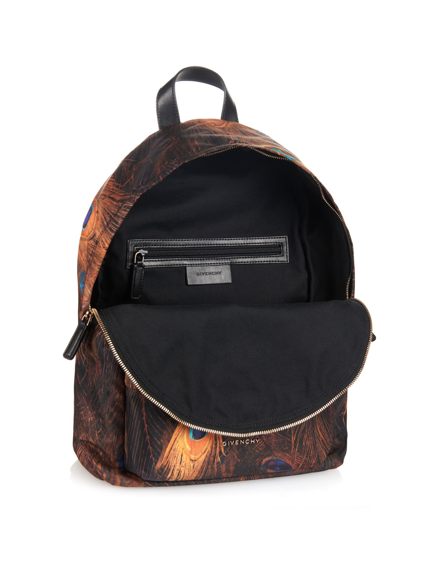 lyst givenchy peacockprint nylon and leather backpack