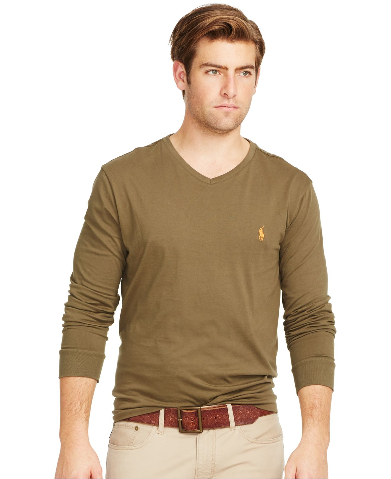 polo ralph lauren long sleeved jersey v neck in green for men lyst. Black Bedroom Furniture Sets. Home Design Ideas