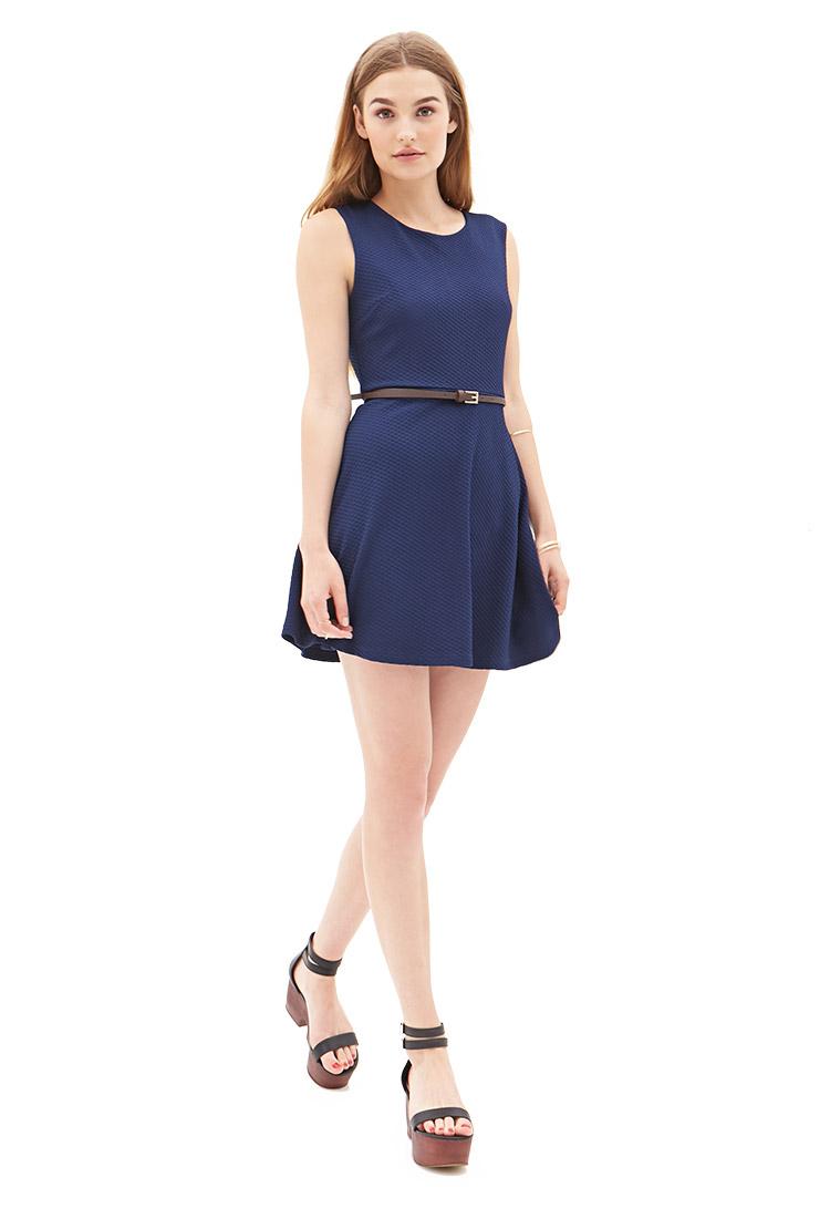 Forever 21 Textured Knit Skater Dress in Blue | Lyst