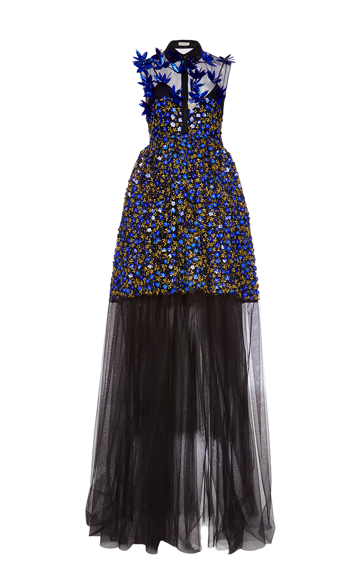 Delpozo Holographic Embroidered Tulle Gown in Blue