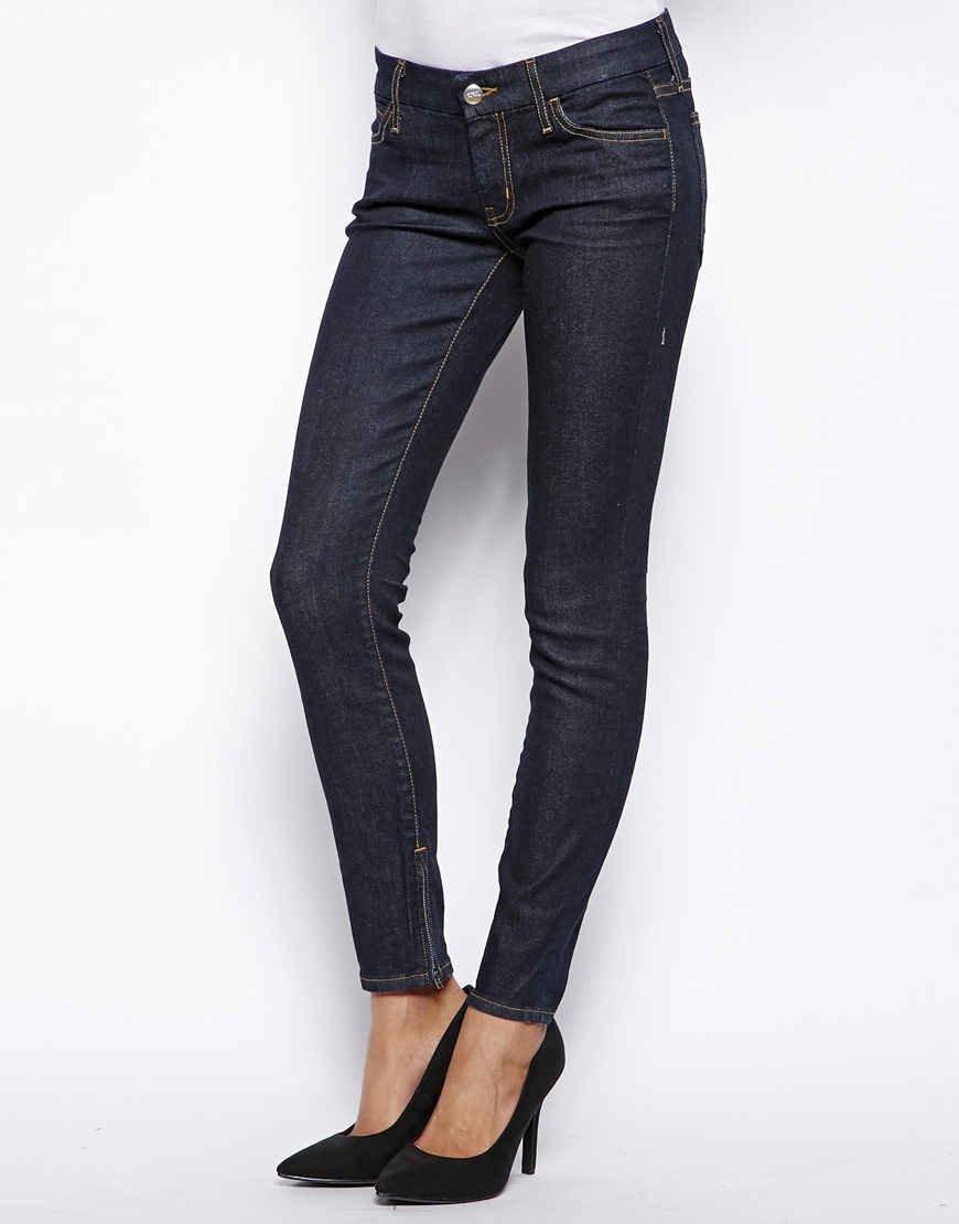 koral low rise skinny jean with zips in blue 1month lyst. Black Bedroom Furniture Sets. Home Design Ideas