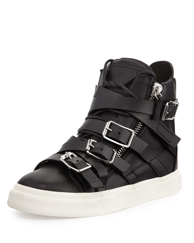 giuseppe zanotti multi buckle high top sneaker in multicolor nero lyst. Black Bedroom Furniture Sets. Home Design Ideas