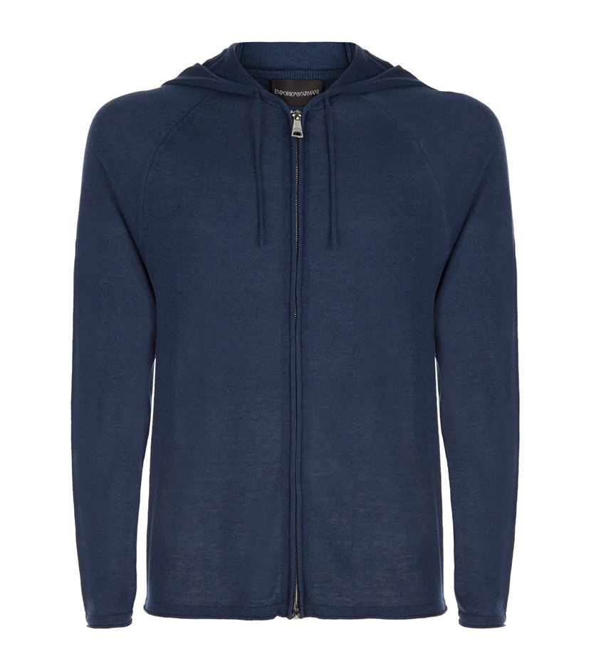 emporio armani silk cashmere hooded sweater in blue for. Black Bedroom Furniture Sets. Home Design Ideas