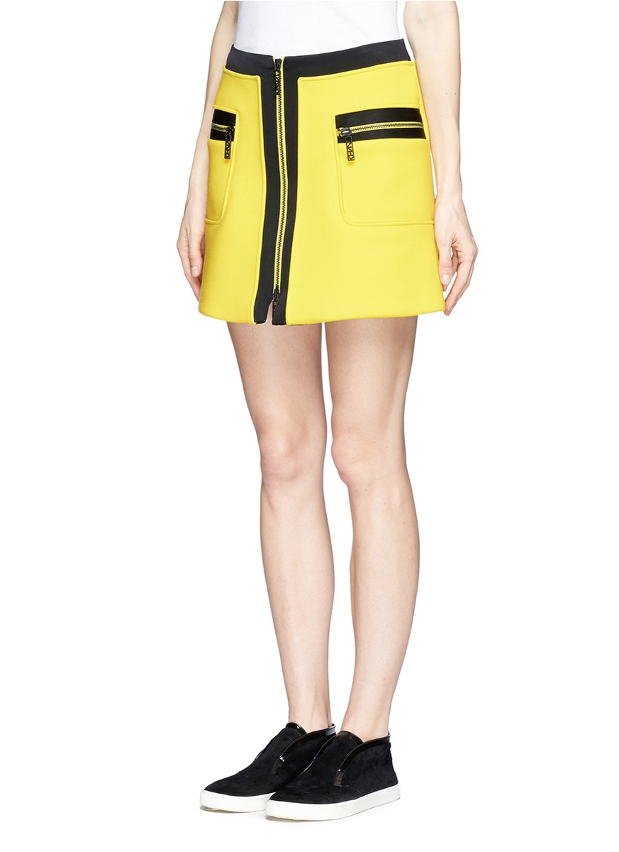 kenzo trim zip front a line skirt in yellow yellow and