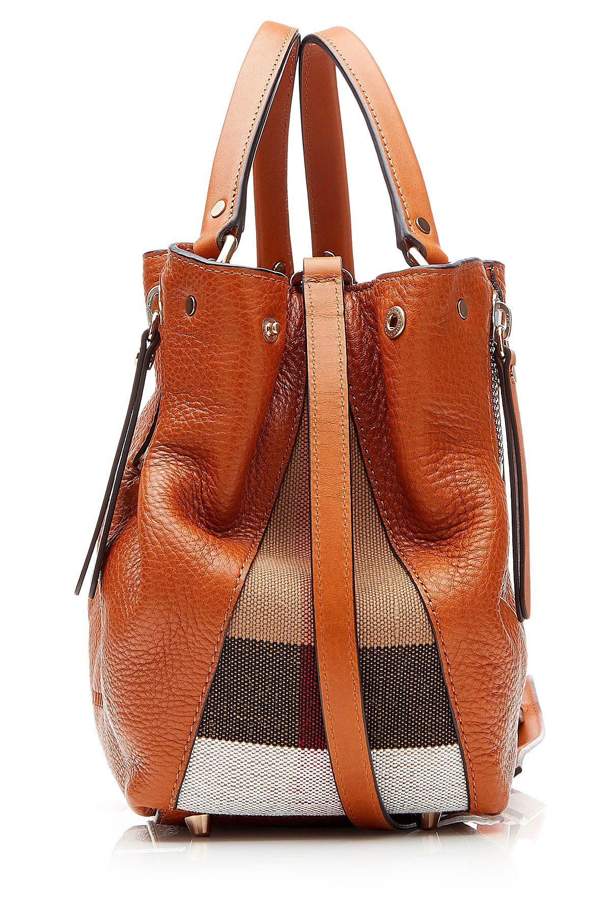 Lyst Burberry Leather Shoulder Bag With Printed Fabric