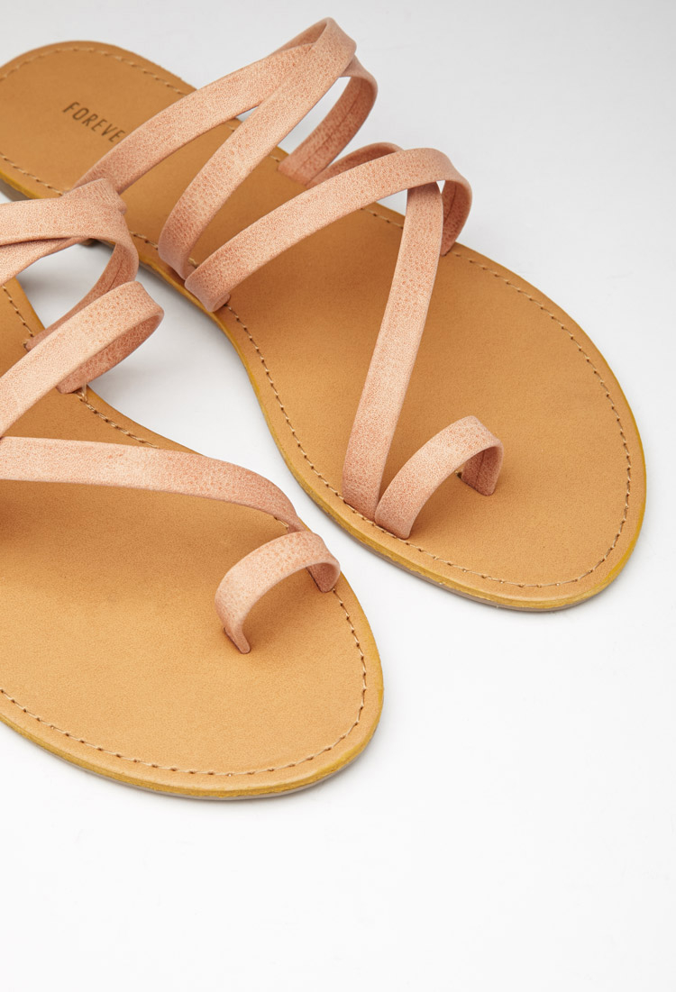 Strappy Toe-loop Sandals in Blush (Pink
