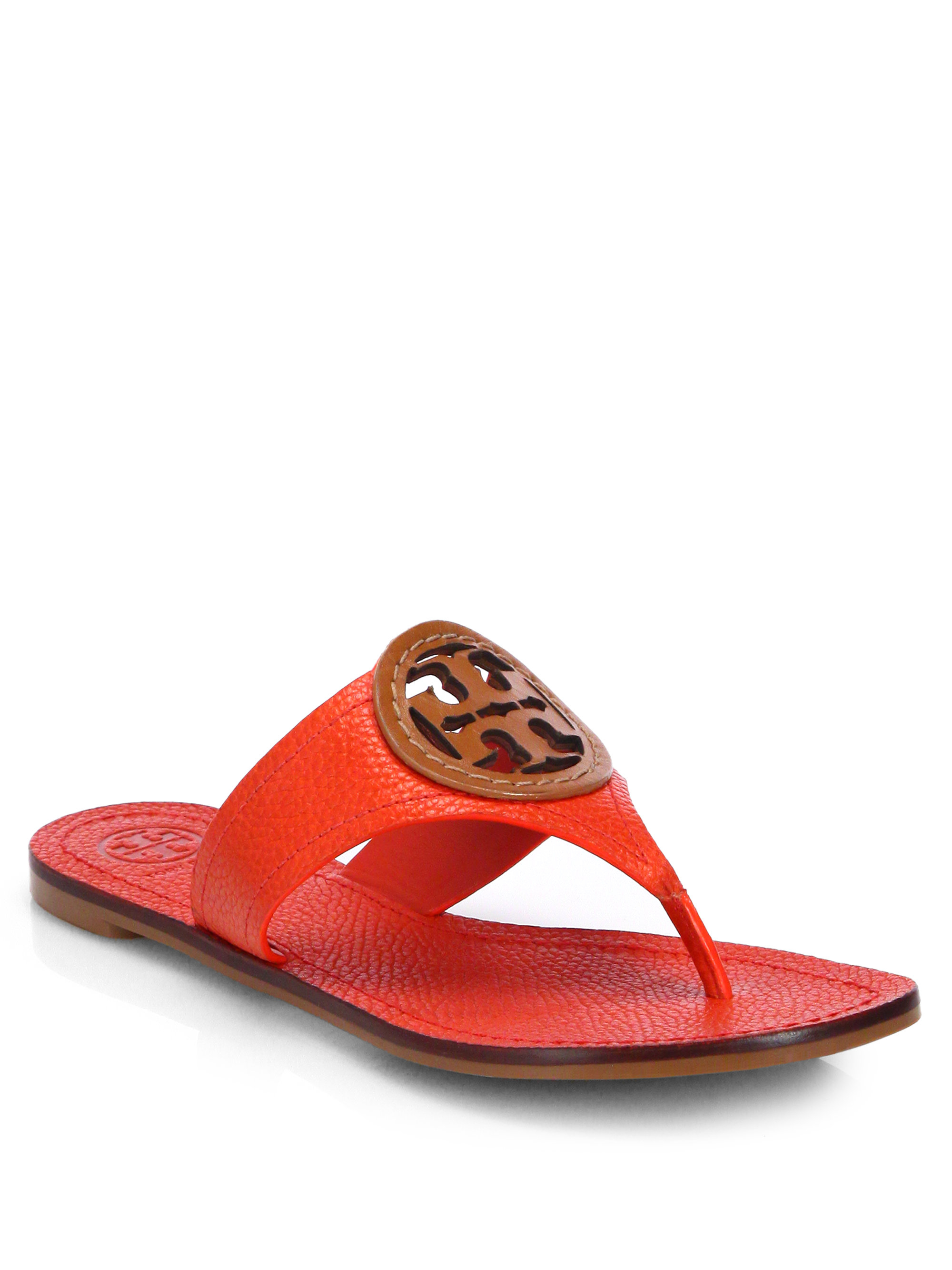 Lyst Tory Burch Louisa Leather Thong Sandals In Red