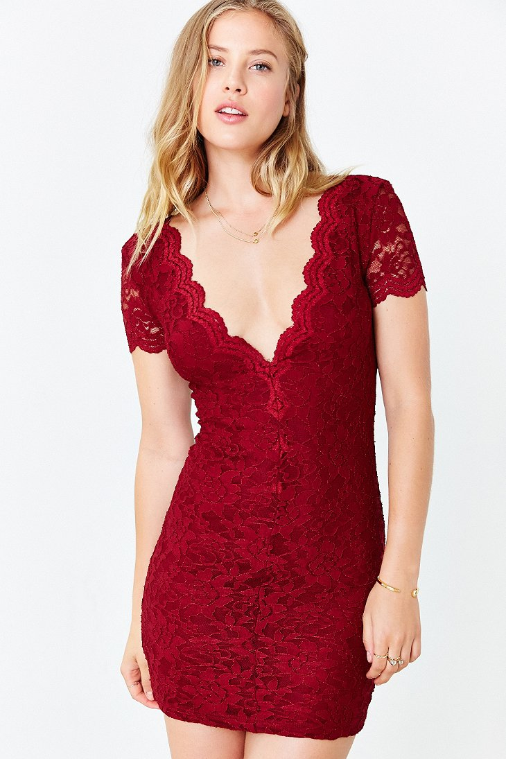 Kimchi Blue Scallop Lace Bodycon Dress In Red Lyst