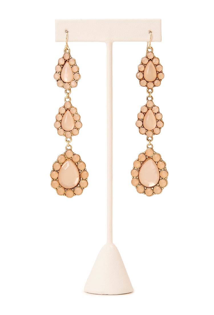 Forever 21 regal teardrop earrings in pink lyst for Forever 21 jewelry earrings