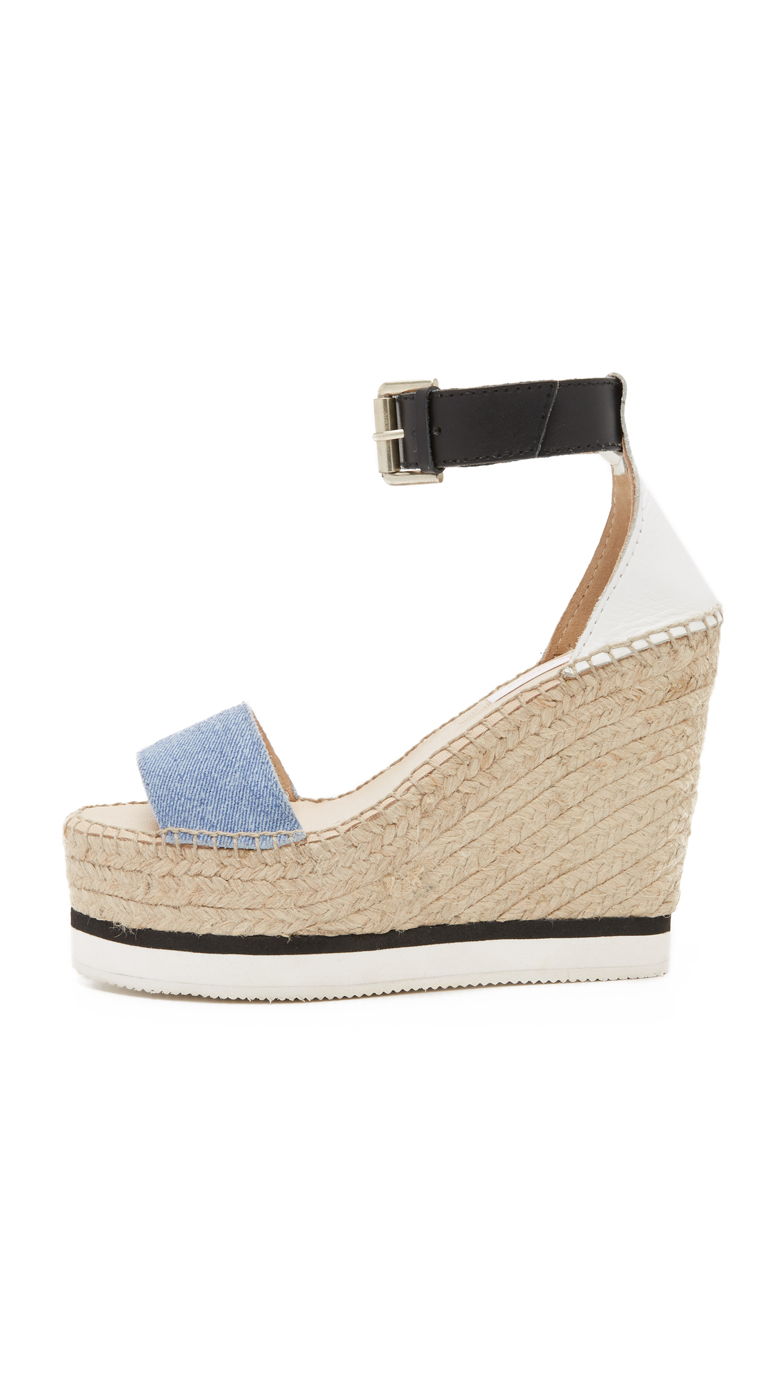 Lyst See By Chlo 233 Glyn Espadrille Wedge Sandals In Blue