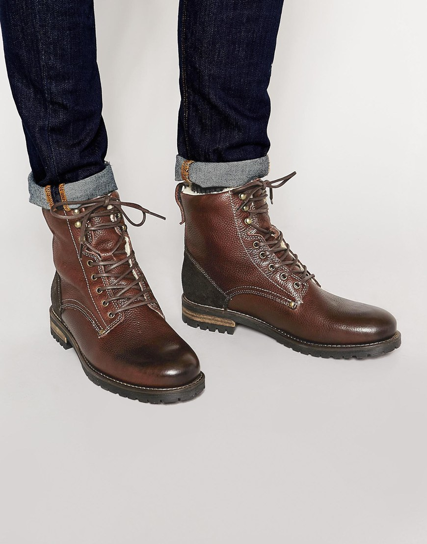 aldo busca leather boots in brown for lyst