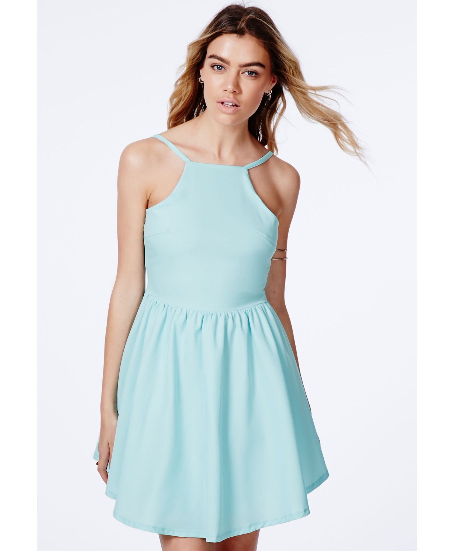Missguided Eleta Strappy Puffball Skater Dress In Mint in Green - Lyst