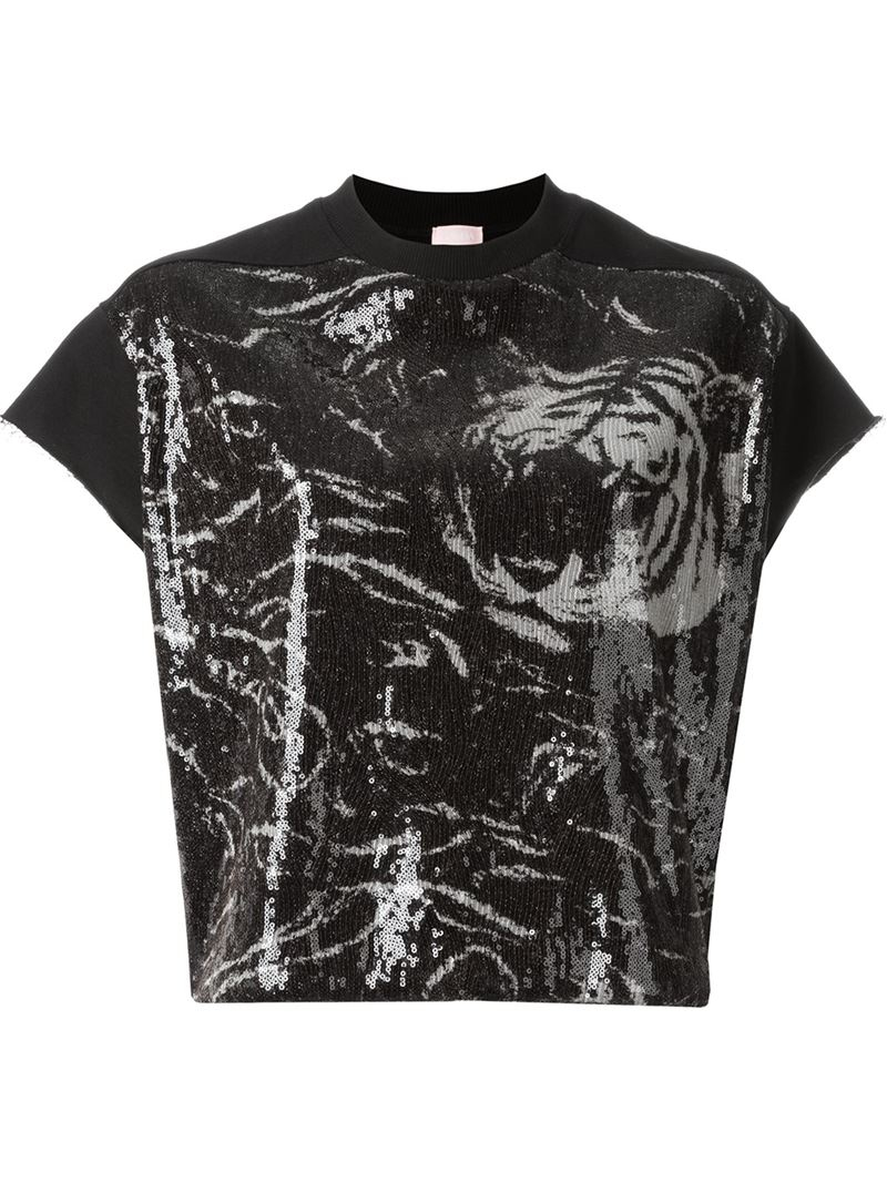 giamba sequin t shirt in black save 40 lyst. Black Bedroom Furniture Sets. Home Design Ideas