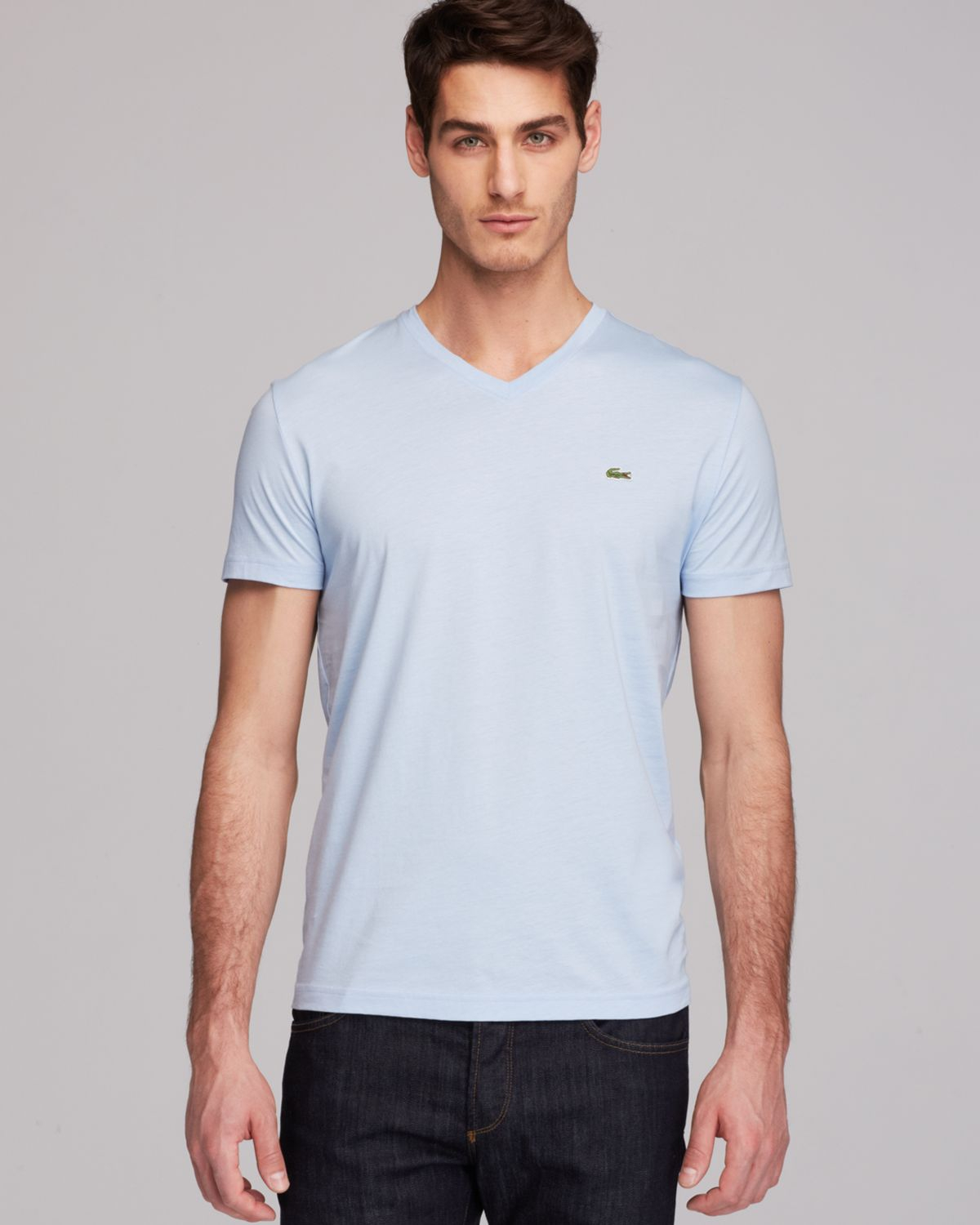 Lacoste Pima Cotton Jersey Vneck Tee In Blue For Men