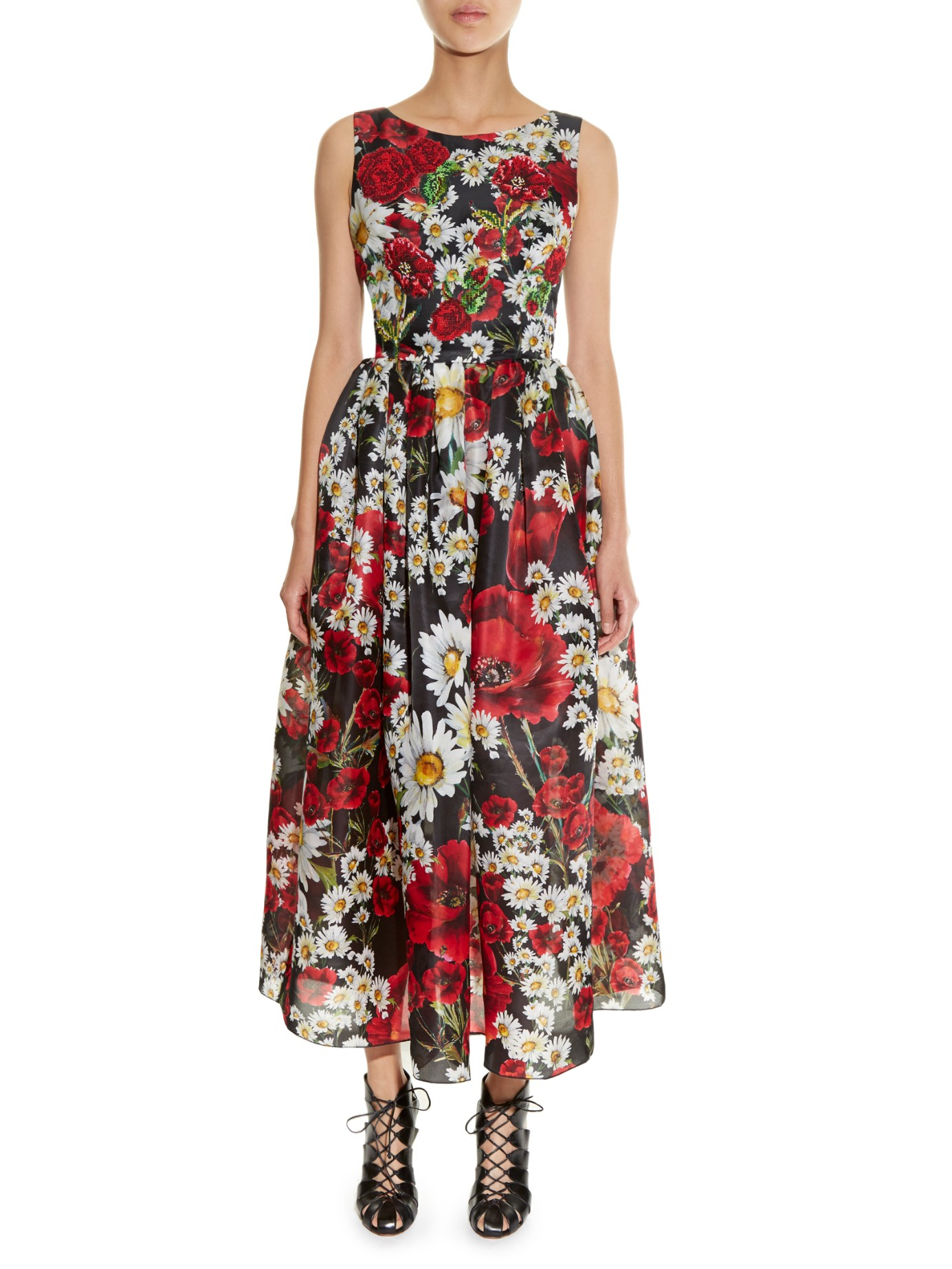 Dolce Amp Gabbana Embroidered Poppy And Daisy Print Organza