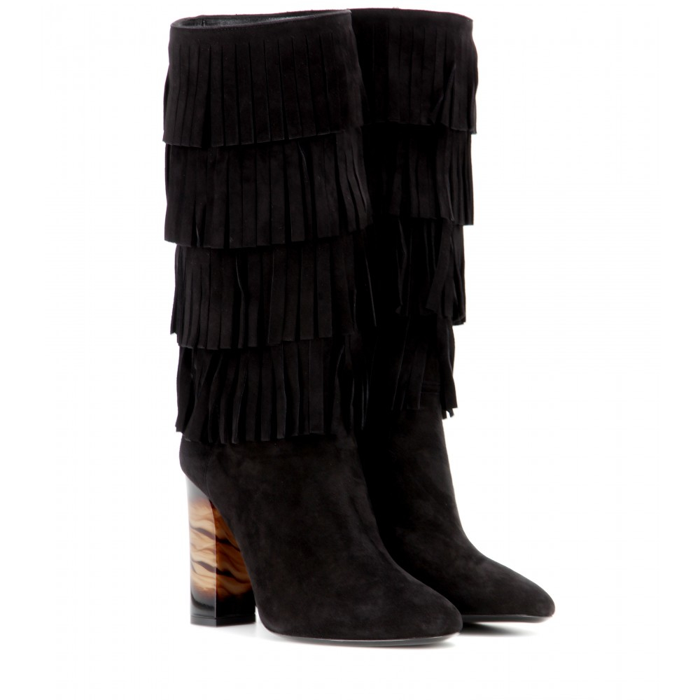 burberry fringed suede boots in black lyst