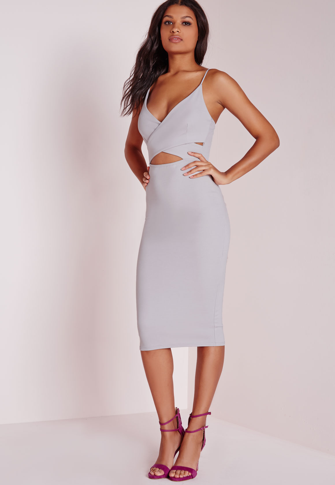 Lyst - Missguided Scuba Strappy Cut Out Midi Dress Grey in Gray ac56ef56dcb