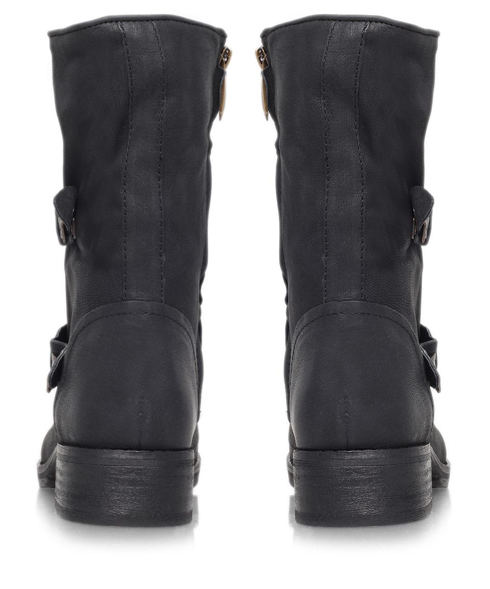 c2fc0f76bb2b Sam Edelman Black Ridge Dual-Buckle Leather Biker Boots in Black - Lyst