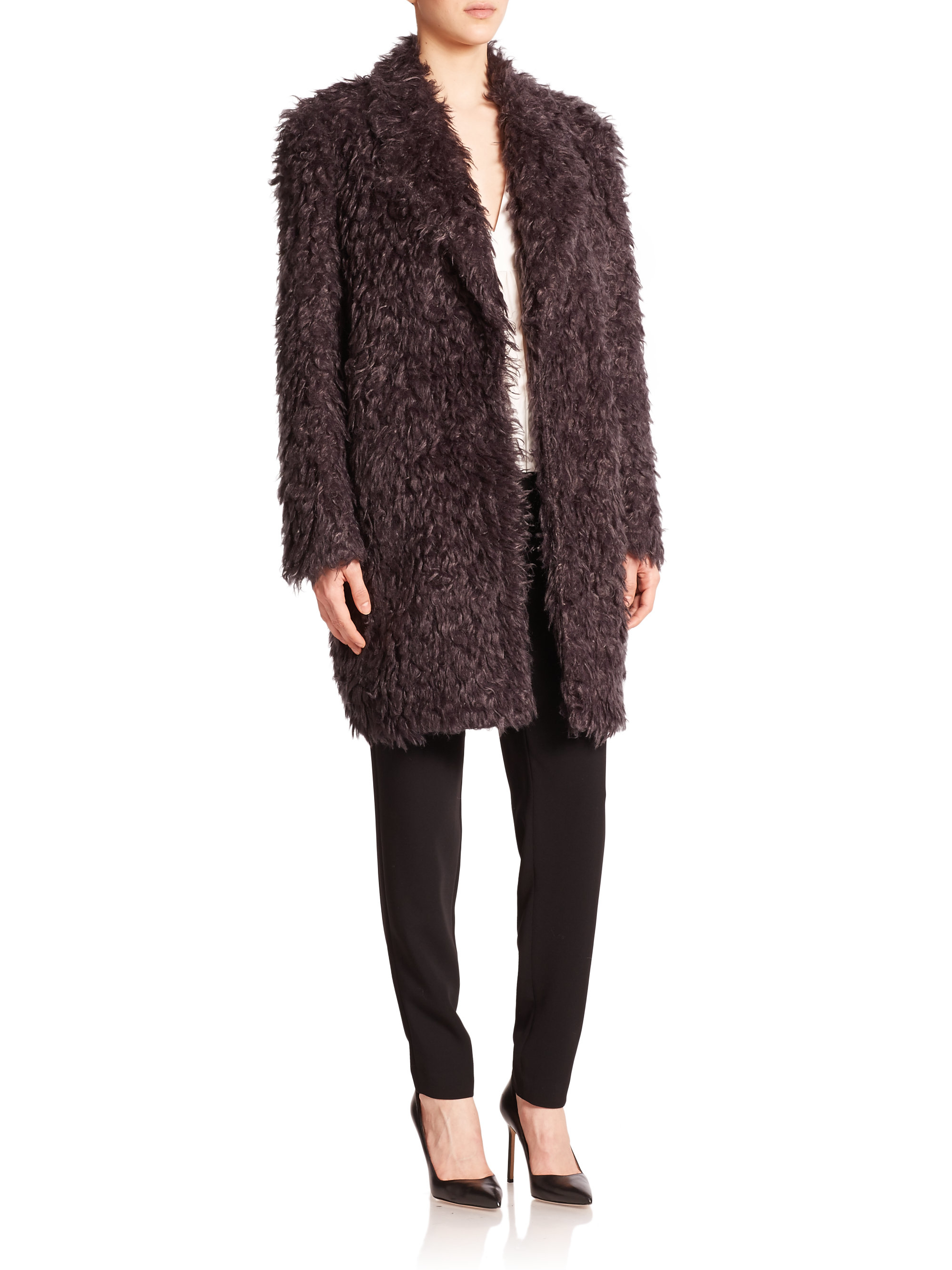 Elizabeth and james Iris Shaggy Faux Fur Boyfriend Coat in Brown ...