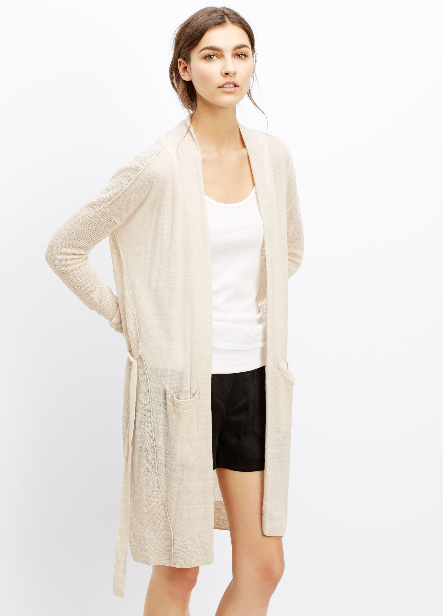 f2b1e1853 Lyst - Vince Long Linen Blend Belted Cardigan in Natural
