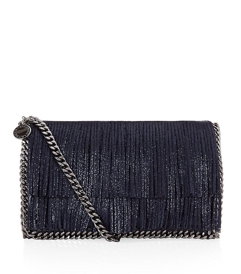 stella mccartney falabella fringe crossbody bag in blue lyst