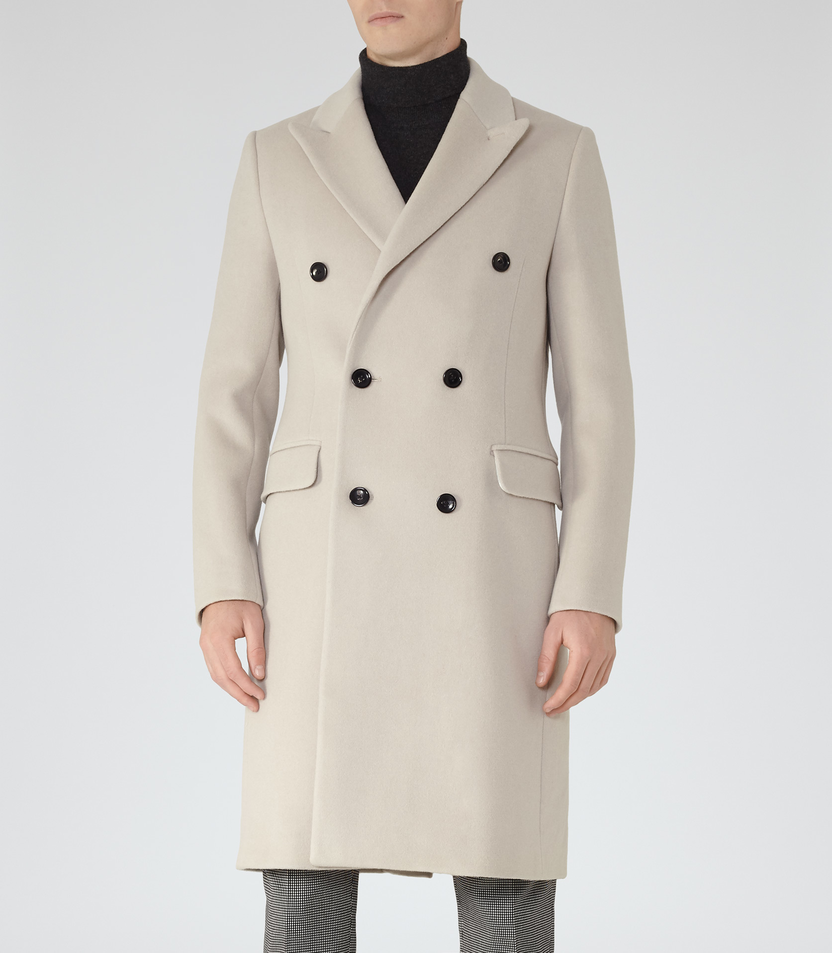 Reiss Cormier Double Breasted Overcoat In Natural For Men