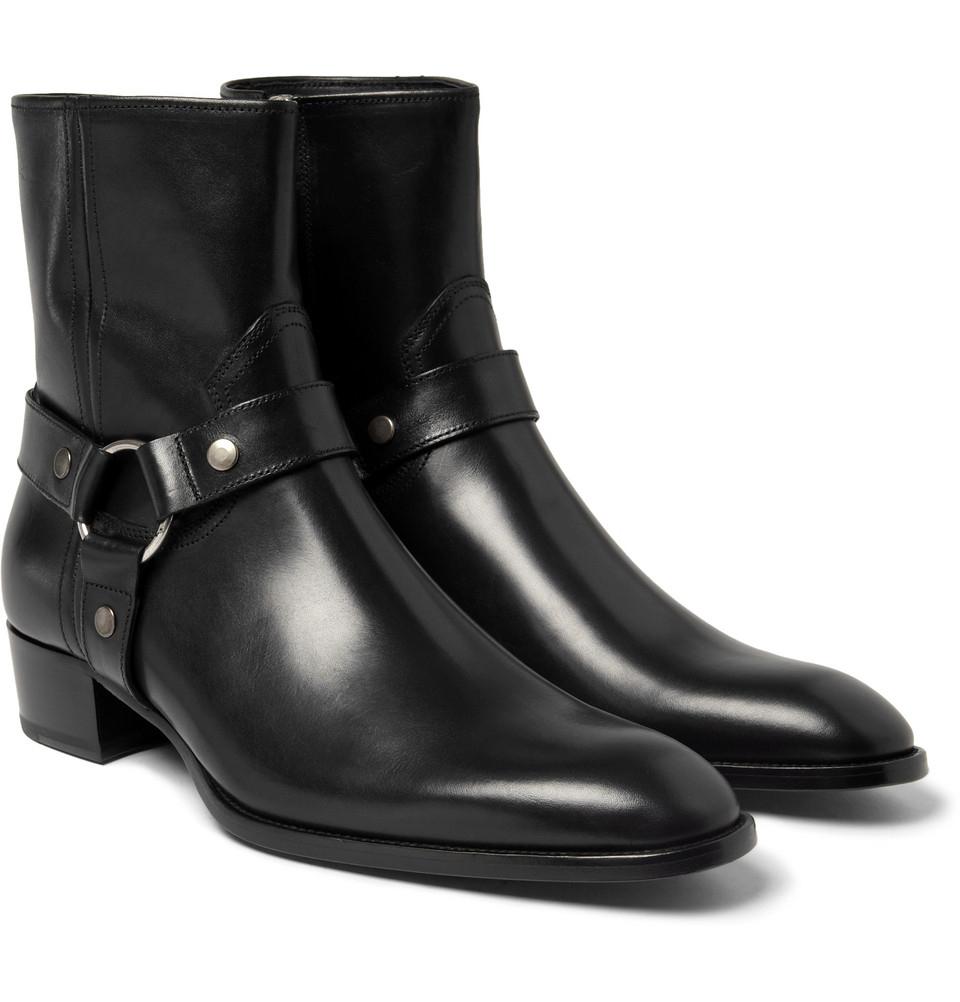57e3c0f985c Saint Laurent Black Leather Harness Boots for men