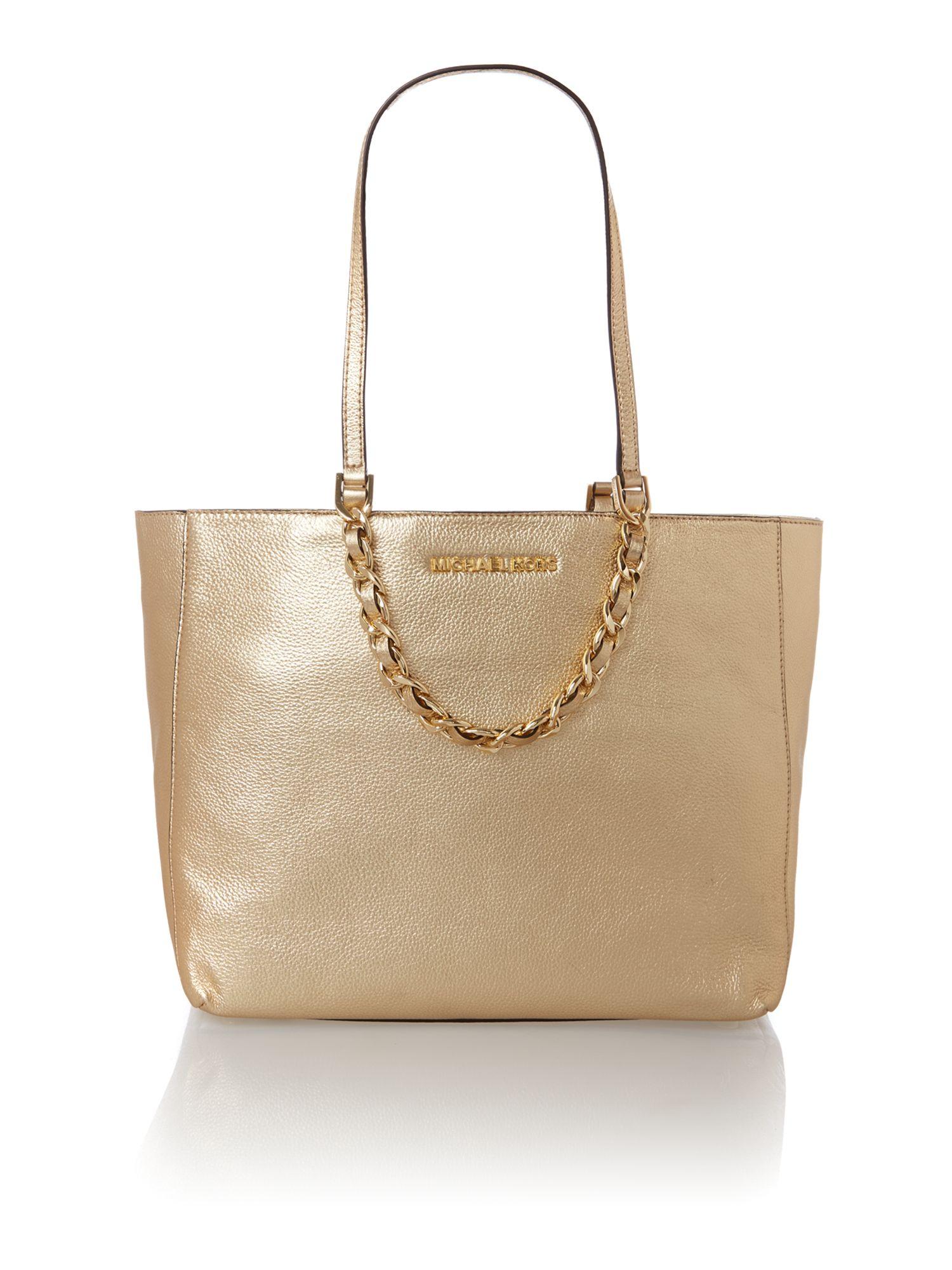 Michael kors Harper Gold Tote Bag in Metallic | Lyst