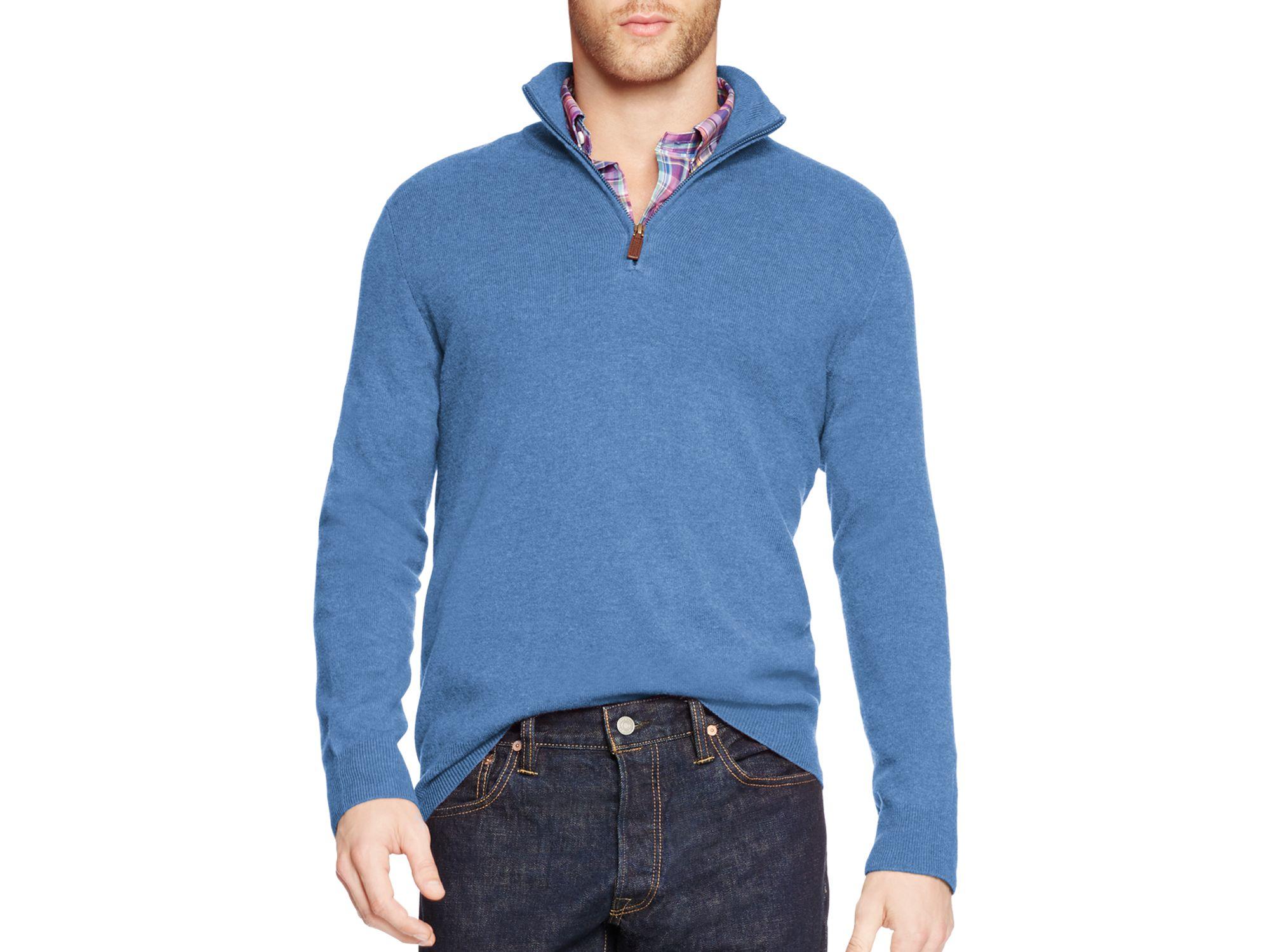 ralph lauren blue polo merino wool half zip pullover for men lyst. Black Bedroom Furniture Sets. Home Design Ideas