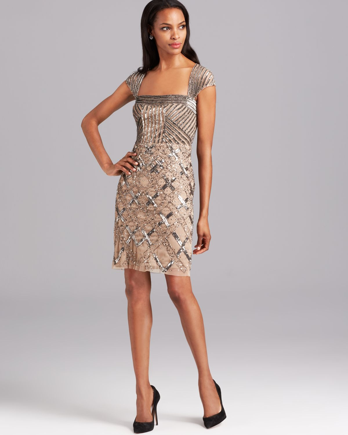 papell cap sleeve beaded shift dress with square